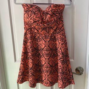 Coral Fun Strapless Dress